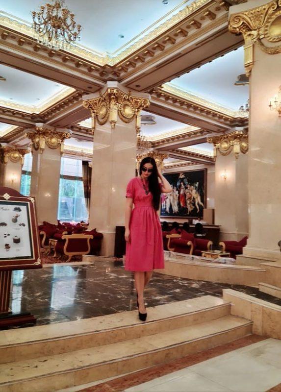 váy hồng công sở nhà snlinen